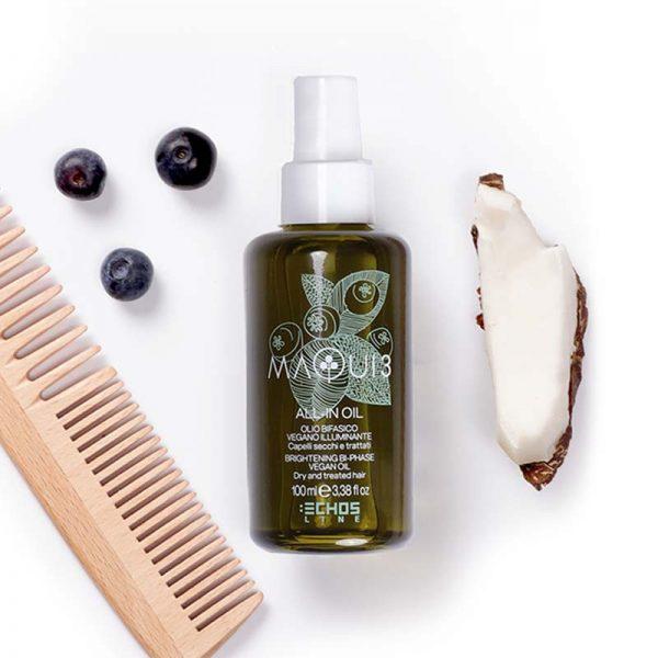Λάδι μαλλιών θρέψης και λάμψης bi phase με νερό καρύδας Maqui 3