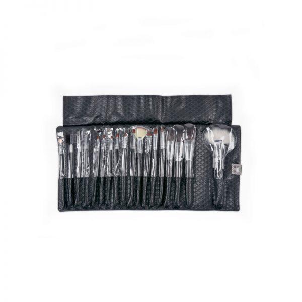 Πινέλα μακιγιάζ με θήκη δερματίνι 18 τεμαχίων